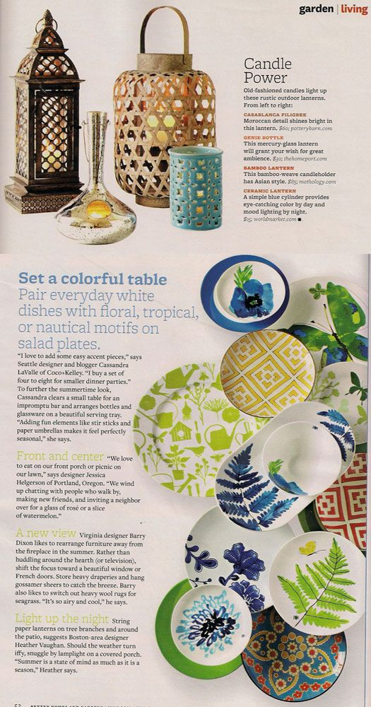 Better Homes & Gardens June 2011 - Asian Inspired Bamboo Garden Lantern, Lotus Flower Ceramic Dishes, & Moroccan Patterned Ceramic Dishes - available at Mothology.com