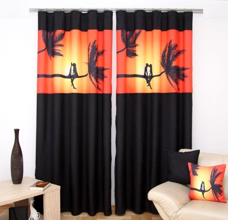 3D závěs do obýváku černo oranžové barvy s romantickým motivem