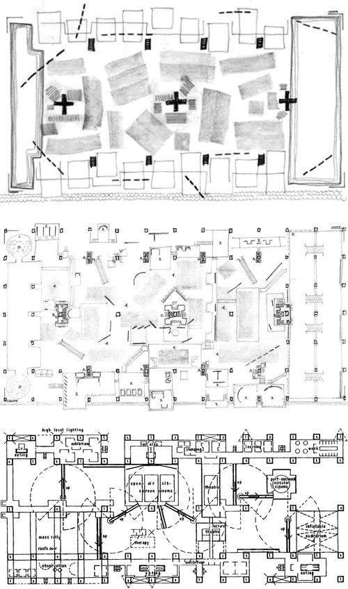 Cedric Price - The Fun Palace, conceptual plan/working plan/final plan (1963)