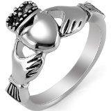 #Gioielli #5: JewelryWe Gioielli anello da uomo donna lucidato acciaio inossidabile Celtico Claddagh Corona Re Cuore Amore anello per Promessa/fidanzamento/matrimonio: UK misura - P