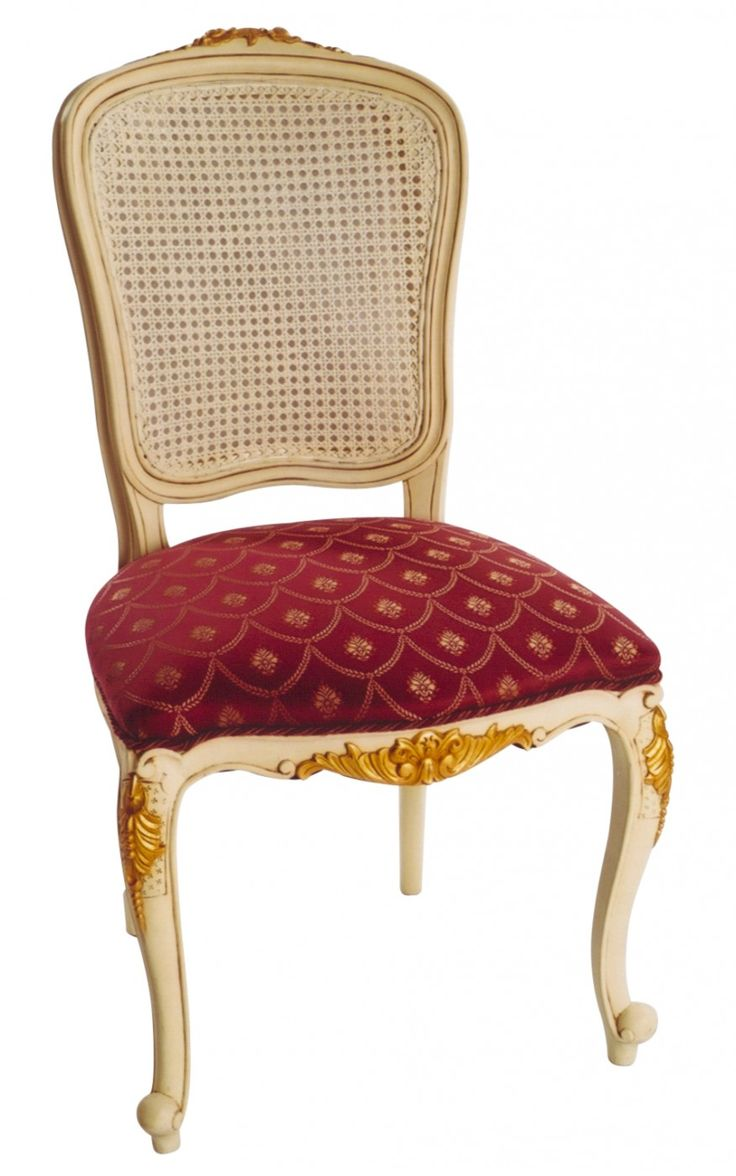 Louis Rose Carved Dining Chair, Rattan
