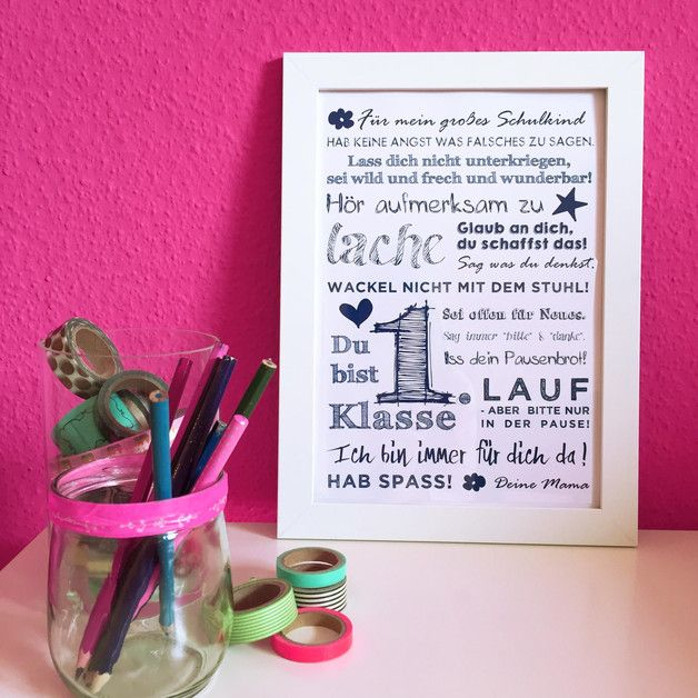 """Originaldruck - """"BOTSCHAFT ANS SCHULKIND"""" Einschulungsgeschenk! - ein Designerstück von ENGELundBANDITEN bei DaWanda"""