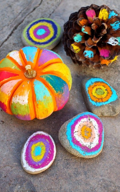 Halloween Art:  No Carve, Colorful Pumpkins, rocks, and pine cones!