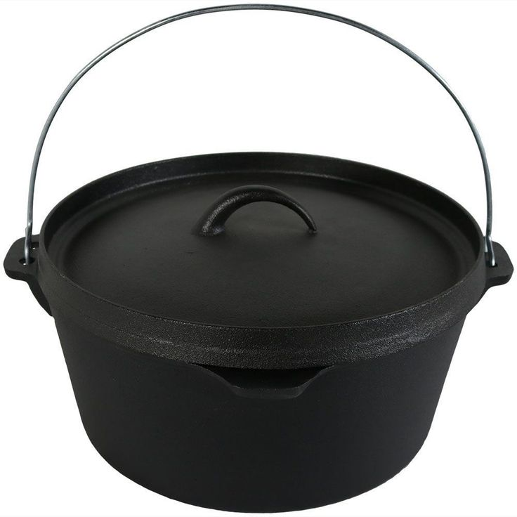 Cast Iron Deep Dutch Oven Pre-Seasoned 12-Inch 8-Quart Handle Cooking Camping  #SunnydazeDecor
