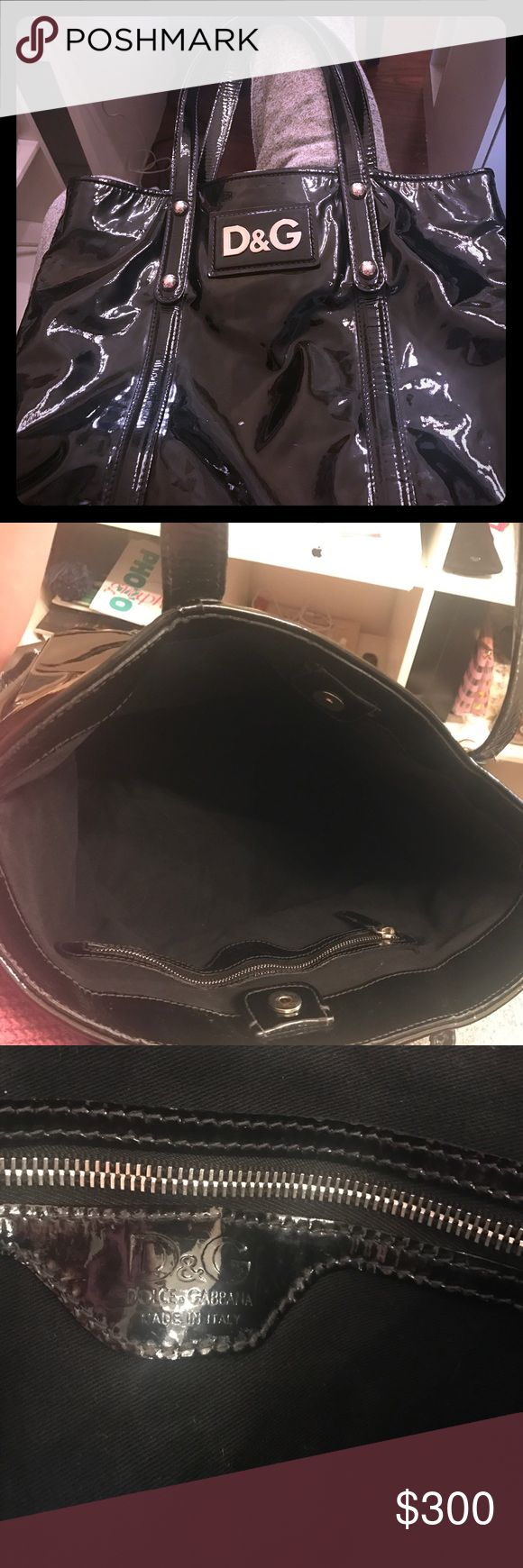 D&G Dolce&Gabbana Estelle Tote Black D&G tote. Patent leather. Press stud to close the handbag. Has inside zip pocket. Branded logo on the front. Gently used. No packaging. Perfect for a student. D&G Bags Totes