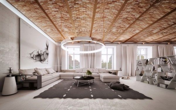 Speaking of creative roofs and ceilings, the exposed brick ceiling in this living room from the same visualizer is so stunning that it's easy to get lost in it. It stands again in contrast to the simplicity and clean lines of the neutral colored furnishings.