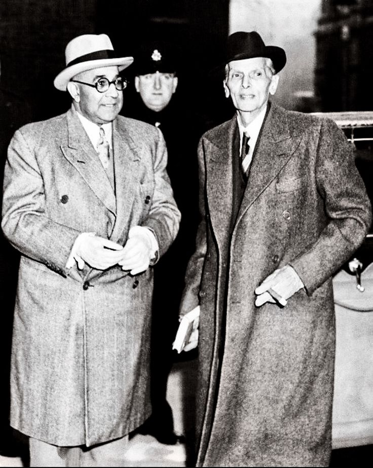 Mohammad Ali Jinnah with Liaquat Ali Khan in London.