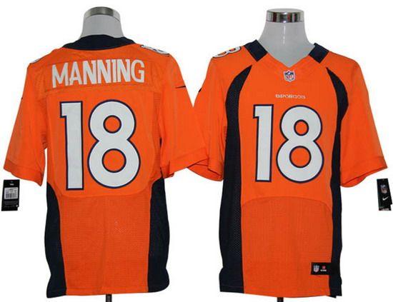 Nike Broncos #18 Peyton Manning Orange Team Color Mens NFL Elite Jersey