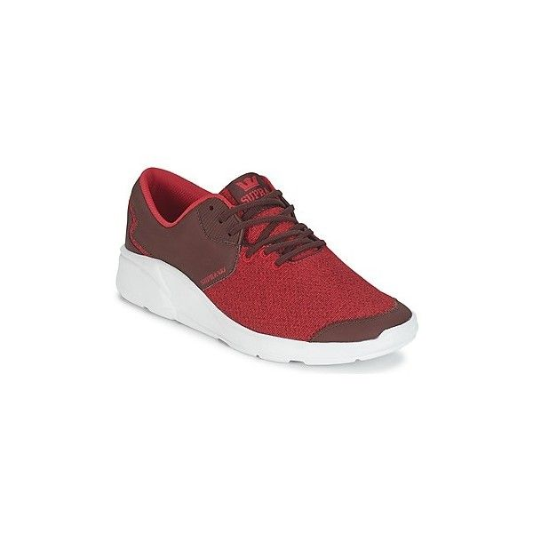 Supra NOIZ Shoes (1,835 MXN) ❤ liked on Polyvore featuring shoes, red, real leather shoes, red shoes, supra shoes, supra footwear and leather shoes