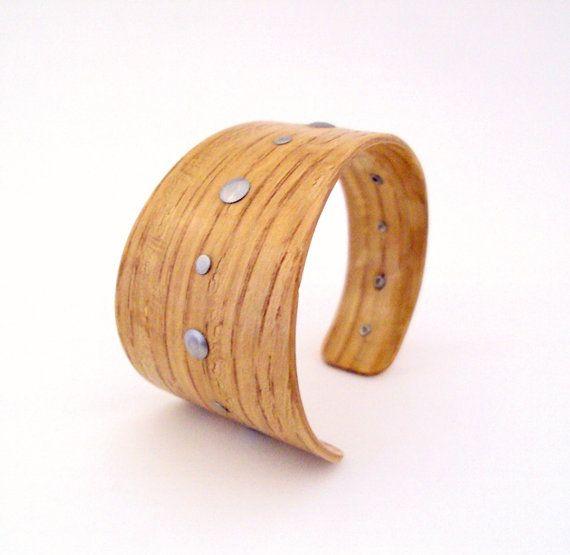 Oak Bracelet Stainless Steel Rivets Asymmetrical by CelesteLambert.