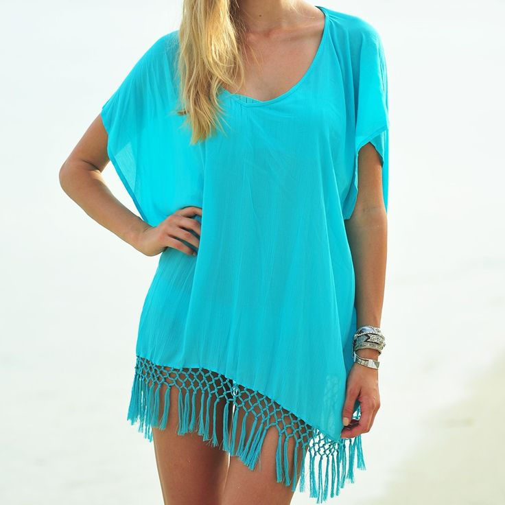 Super Cute & Sexy Solid Color Tassel Fringe Beach Coverup 3 Hot Colors One Size
