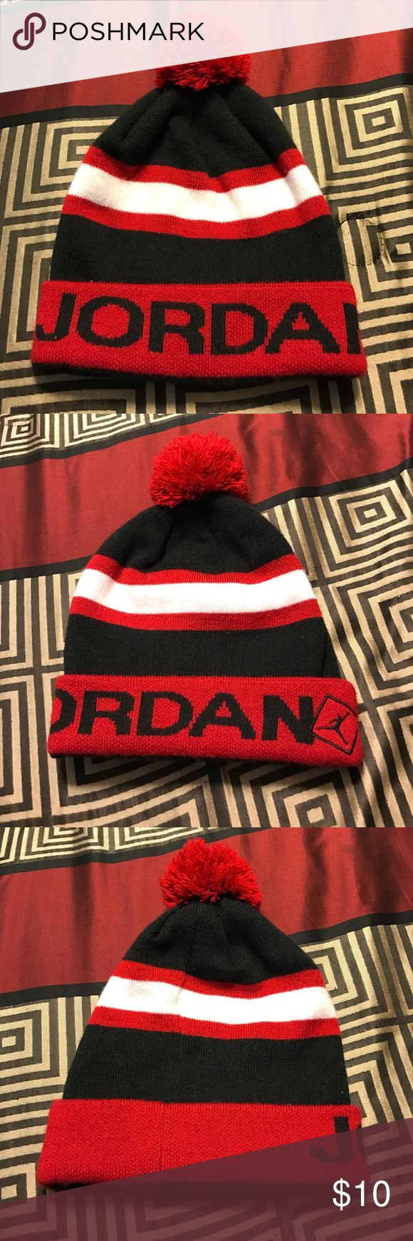 Authentic Jordan Beanie. EUC. Black and Red. This item is an Authentic Jordan Beanie. EUC. Black and Red. OS fits all. No fuzzies or make up stains. No signs of wear. Don't miss out. Jordan Accessories Hats