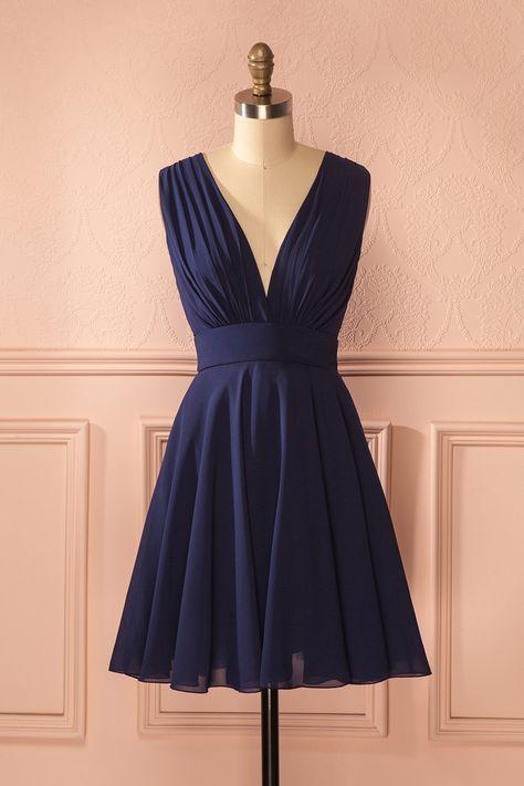 Mayda Marin - Navy blue a-line plunging neckline dress