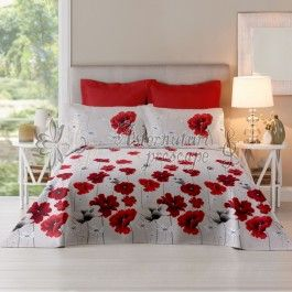 Cottonissima Poppy Field lollipop - lenjerie de pat din bumbac 2 persoane