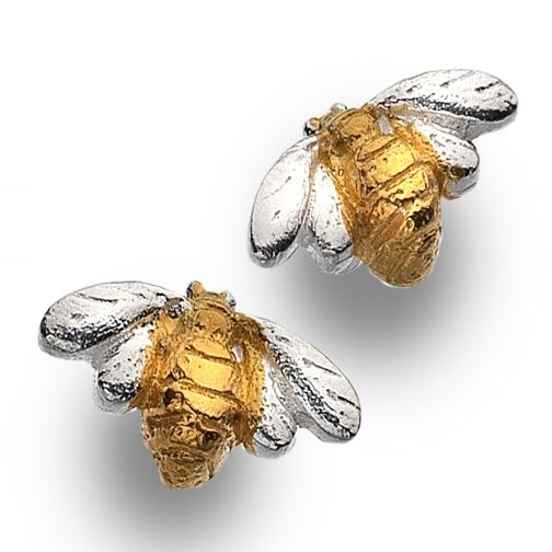 Sterling Silver Jewellery, Beautiful Sterling Silver and Gold Bumblebee Stud Earrings