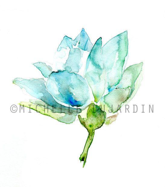 Lotus schilderij Aquarel Lotus Bloem Giclee print op door Zendrawing