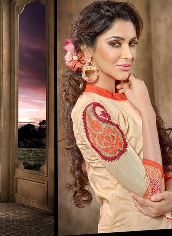 Beige Color Chanderi Fabric Straight Cut Suit