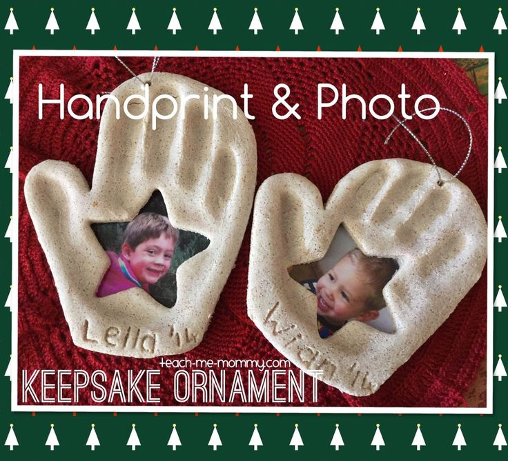 Handprint and photo keepsake ornament-What a cute idea for a grandparent or teacher gift! Looks so easy. Great idea from Teach Me Mommy.