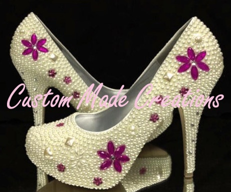 'Grace' is shown in a 5 inch heel pump style shoe with ivory pearls & purple gems.           Want your very own custom pair created just for you?         Contact us with your special requirements & we will do our best to accommodate your needs.         OUR SHOES ARE COMPLETELY CUSTOMISABLE