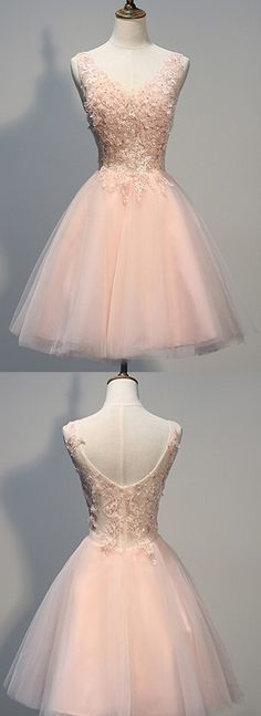 Charming Homecoming Dress,Blush Pink homecoming dresses.Lace prom dresses, Beaded evening dresses,Backless homecoming dresses,V-neck Prom Dresse