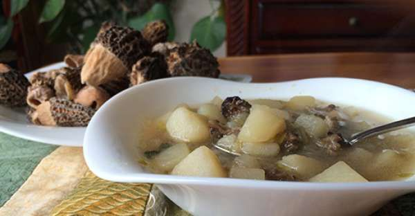 Potato Morel Mushroom Soup Recipe.  Morel mushrooms are a true delicacy and gourmet treat. They have a honeycomb appearance and can be found in a diverse range of habitats.   CLICK VISIT for FULL RECIPE!