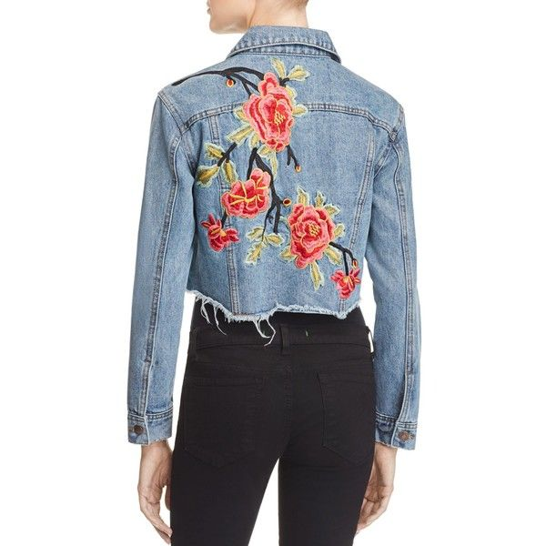 Sunset & Spring Cropped Embroidered Denim Jacket - 100% Bloomingdale's... (2.125 ARS) ❤ liked on Polyvore featuring outerwear, jackets, denim, embroidery jackets, cropped jean jacket, jean jacket, embroidered denim jacket and blue jackets