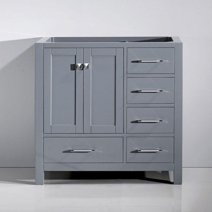 Virtu USA Caroline Avenue 36-inch Solid Wood Cabinet Only (Grey - Grey Finish), Size Single Vanities