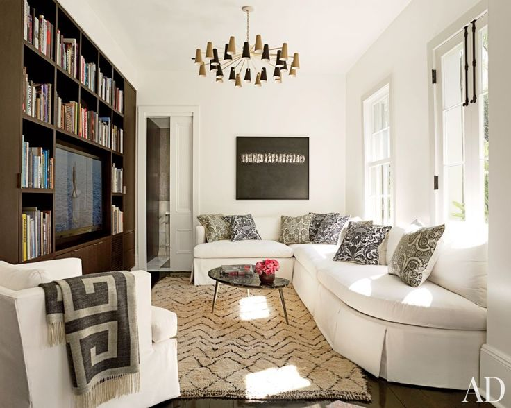 A Contemporary Living Room With Built In Bookcases New Orleans Louisiana Custom