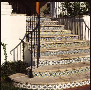 spanish reproduction tiles stair risers. different tile choice for each rise