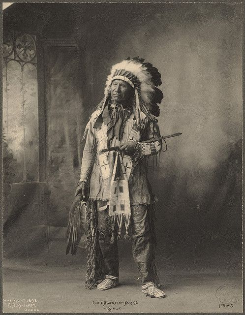 Outstanding Portrait of the great Chief American Horse, Sioux by F.A. Rinehart. (c. 1898).