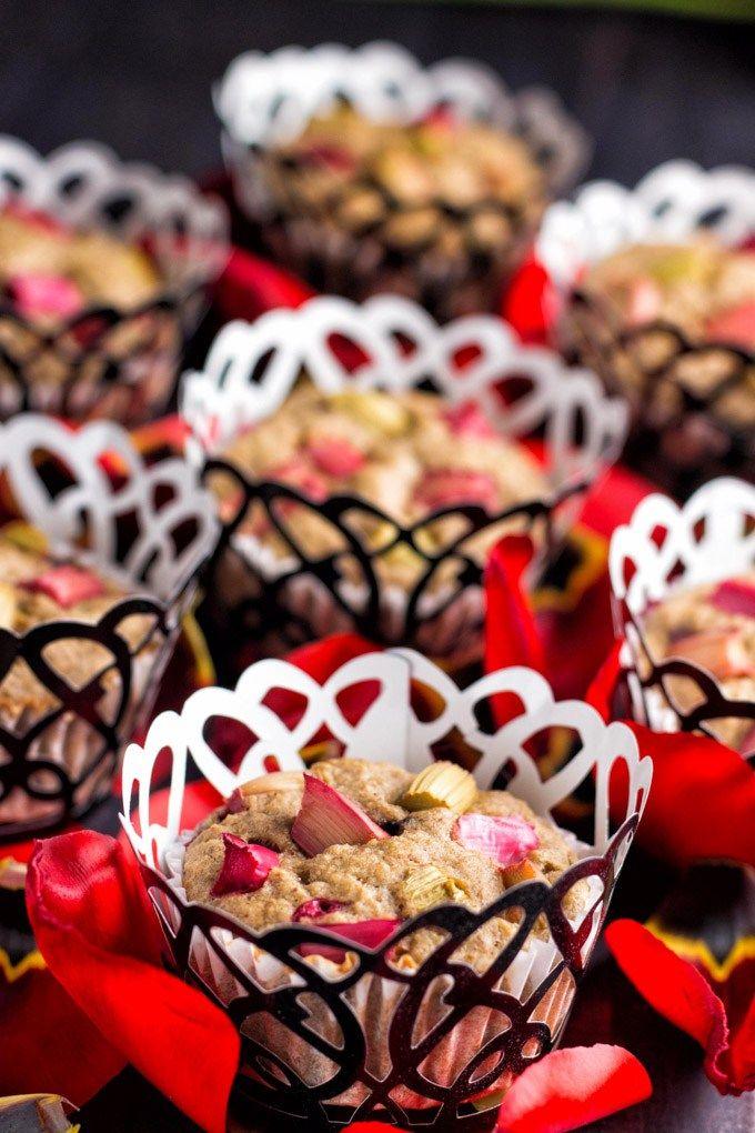 healthy rhubarb oatmeal muffins