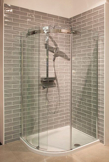 Grey subway tiles in shower display in TileStyle, Dublin