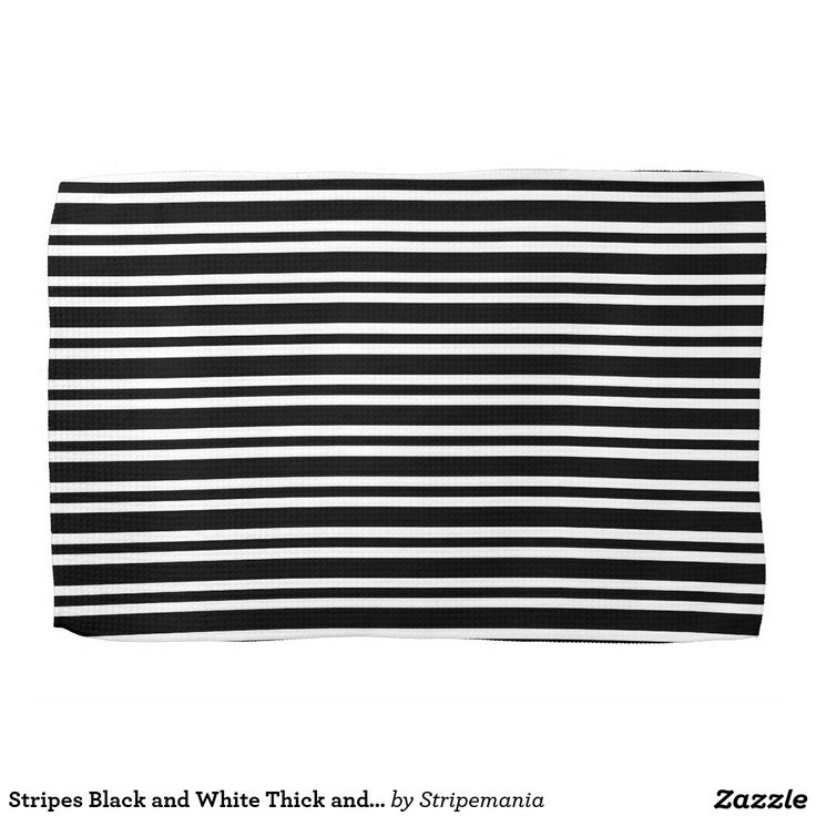 Stripes Black and White Thick and Thin Kitchen Towels