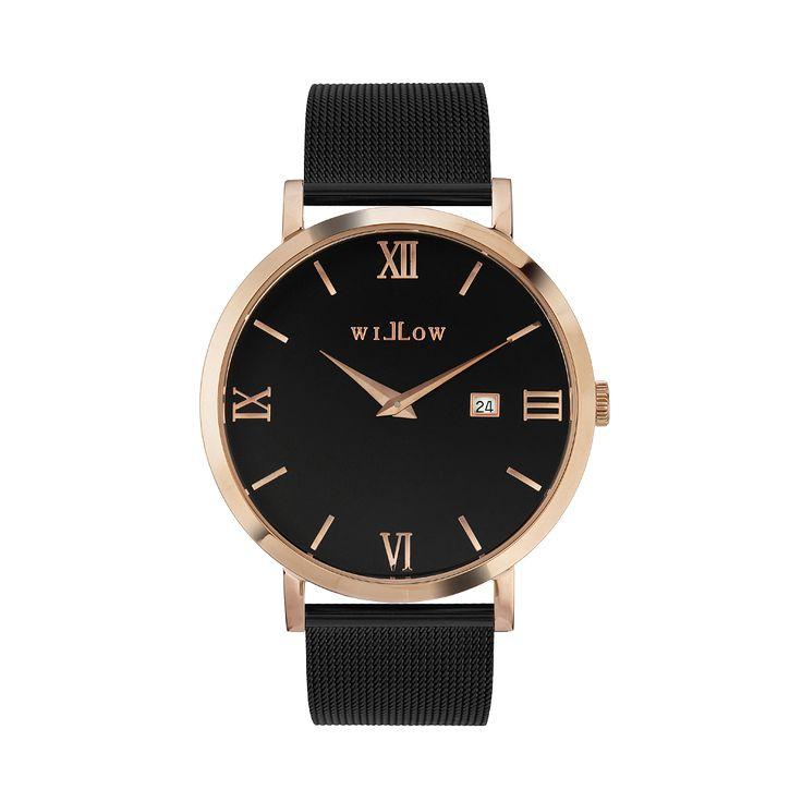 Roma Rose Gold Watch & Interchangeable Black Mesh Strap.