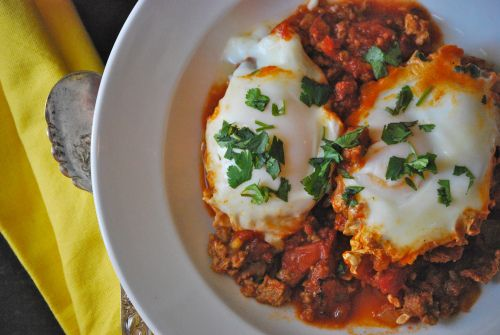 Chorizo and Fire-Roasted Tomato Ragout with Poached Eggs