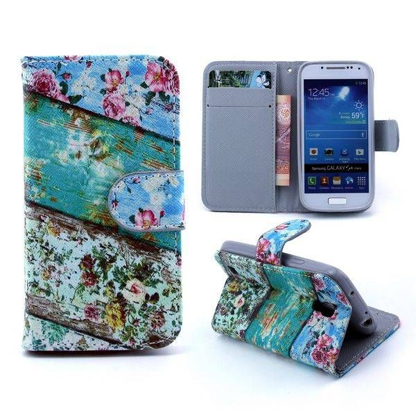 Vintage flowers bookcase voor Samsung Galaxy S4 mini