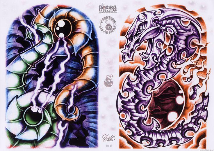 Amazing Bio mechanical tattoo flash art Biomechanical