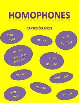 Des cartes éclaires qui peuvent servir à bien écrire certains homophones.