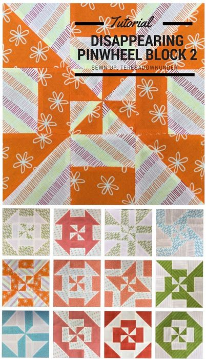 Block 2 - Disappearing pinwheel quilt sampler - free tutorial