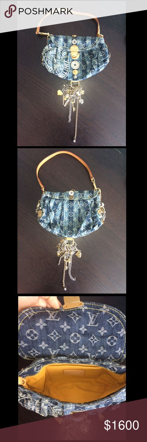 Louis Vuitton denim charm purse - limited edition Authentic Louis Vuitton Limited Edition Denim Mini Pleaty Raye Bag New and Made in France. Your rare crafted bag is a Louis Vuitton monogram denim canvas and natural cowhide leather. The front features the iconic Louis Vuitton trunks design. Your Louis Vuitton features many charms & embellishments in nickel & brass & yellow/gold Alcantara lining. A spacious interior reveals an open slip pocket. You would be proud to own this gem! Louis…