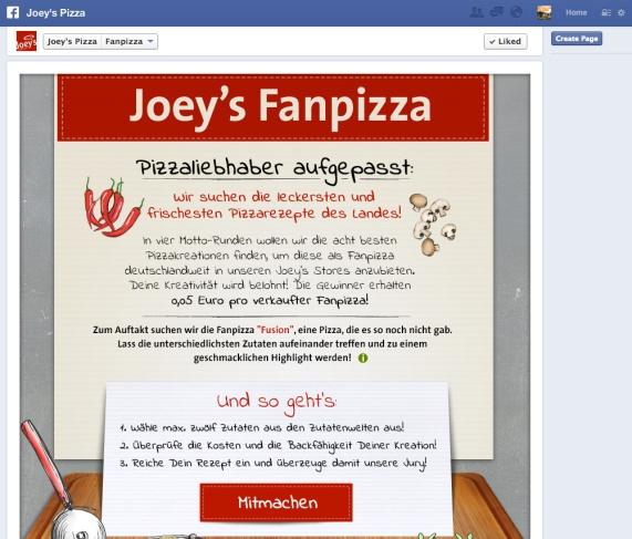 Die Fanpizza: Crowdsourcing auf Facebook mit Joey's Pizza