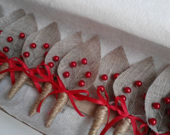 Set of 10- Burlap Groom's Boutonniere for Wedding Rustic Bout with red pearls