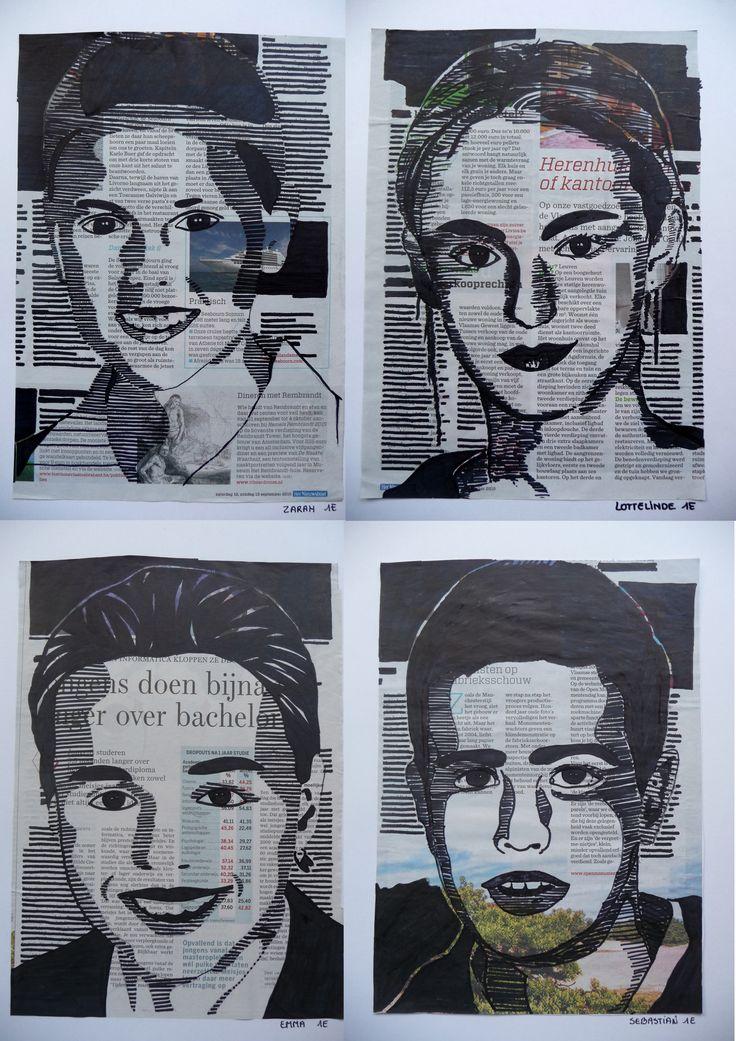 """""""kranten-koppen"""" portret in grijswaarden"""
