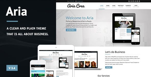 Aria - Pure Business Theme   http://themeforest.net/item/aria-pure-business-theme/5124079?ref=damiamio            This Wordpress Theme is great for all Business Websites and comes with tons of customization options. It features the Visual Composer Plugin (worth 25 USD) to speed up the page creation process and also the great Revolution Slider (worth 15 USD) for stunning presentations.  Shop integration? Sure! WooCommerce plugin has been styled and improved to fit on the theme like a glove…