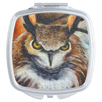 Big Horned Grumpy Owl Makeup Mirror - home decor design art diy cyo custom
