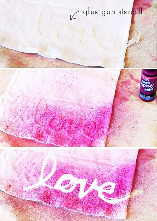 Glue gun stencil on fabric - this would be so fun for totes, t-shirts & so much more!