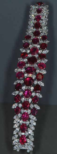 This ruby and diamond bracelet contains 31 matched Burmese rubies with a total of 60 carats. The bracelet is on display at the Smithsonian Museum of Natural History. Myanmar (formerly Burma) is the major source of rubies and sapphires.