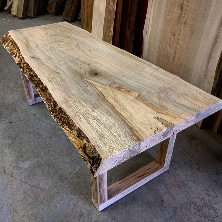 Reclaimed Live Edge Maple Coffee Table Bench Industrial: Live Edge Spalted Maple Coffee Table By Barnboardstore.com