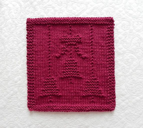 Christmas bells bow knit dishcloth maroon by for Knitted christmas bells