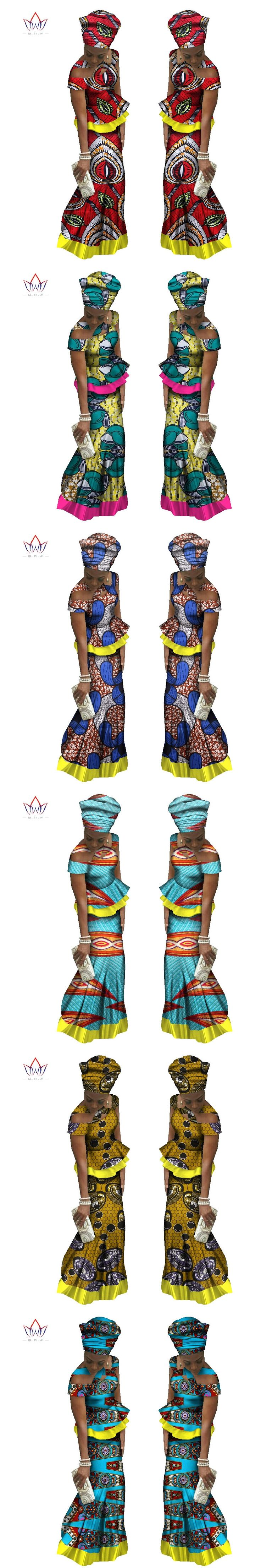 BRW 2017 New Arriving Fashion Africa 2 Pieces Skirt Set Dashiki Long Skirt & Headtie Skirt Traditional African Clothing WY1559